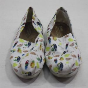 Toms White Flats with Toucans Pineapple & Flamingo